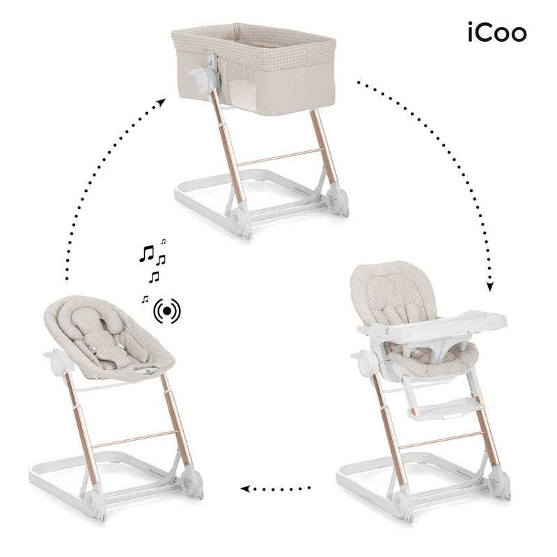 Convertible Grow with me de iCoo - Cuna + Hamaca + Trona bebé